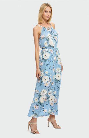 Zwiewna sukienka do kostek niebieska