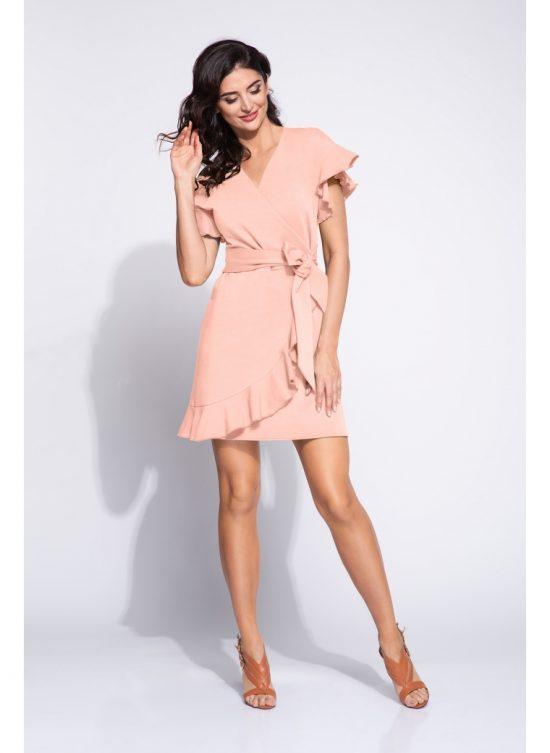 Sukienka kopertowa z falbanami różowa