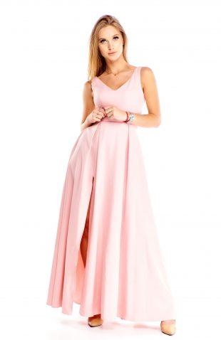 Sukienka maxi na wesele różowa