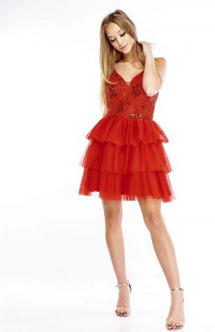 Sukienka balowa rozkloszowana czerwona
