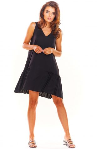 Sukienka trapezowa na lato czarna