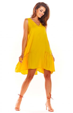 Sukienka trapezowa na lato żółta