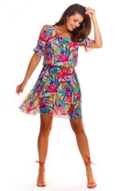 Zwiewna sukienka mini we wzory