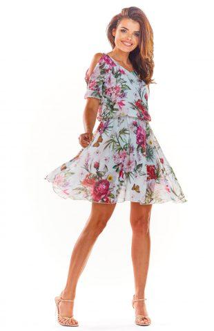 Zwiewna sukienka mini ecru