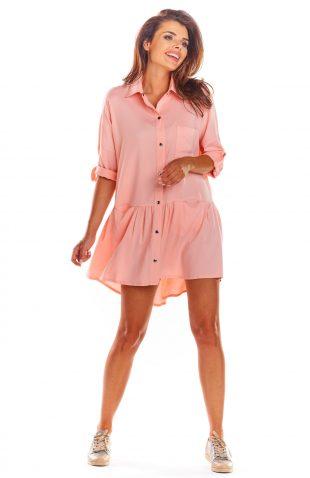 Sukienka koszulowa na lato różowa