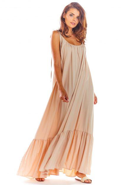 Sukienka z odkrytymi plecami beżowa