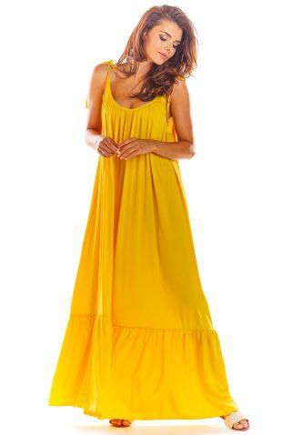 Sukienka z odkrytymi plecami żółta