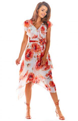 Sukienka szyfonowa w kwiaty ecru