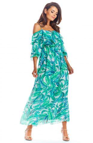 Sukienka hiszpanka długa zielona