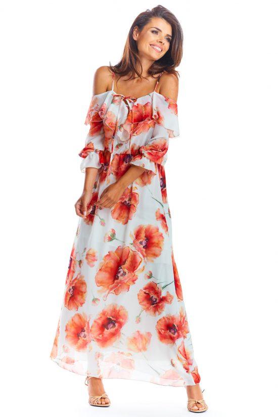 Sukienka hiszpanka długa ecru