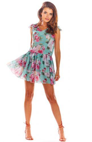 Sukienka mini z falbanami na lato