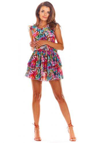 Sukienka mini z falbanami w kwiaty