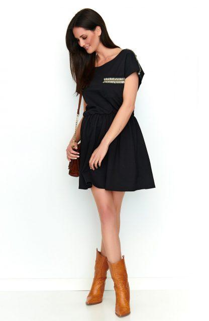 Sukienka dresowa rozkloszowana czarna