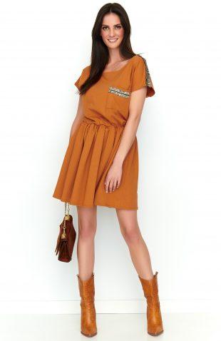 Sukienka dresowa rozkloszowana karmelowa