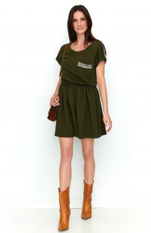 Sukienka dresowa rozkloszowana khaki