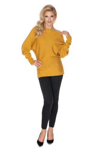Sweter z szerokimi rękawami musztardowy