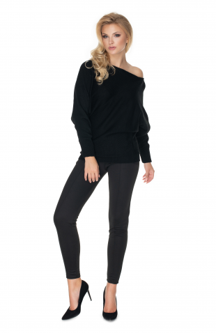 Sweter z szerokimi rękawami czarny