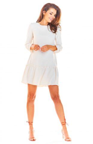 Sukienka trapezowa elegancka beżowa