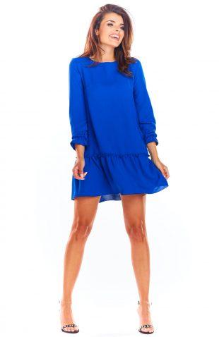 Sukienka trapezowa elegancka niebieska