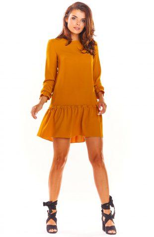 Sukienka trapezowa elegancka camel