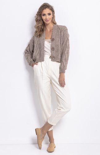 Sweter bomber zapinany mocca