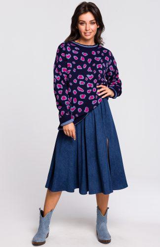 Sweter w cętki fioletowy