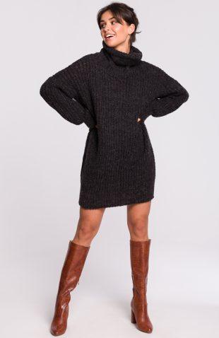 Ciepły sweter z golfem antracyt