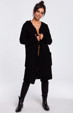 Długi kardigan z kapturem czarny