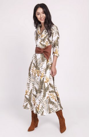 Sukienka midi rozkloszowana w liście