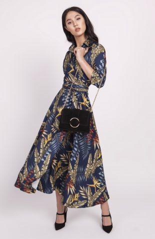 Sukienka midi rozkloszowana we wzory