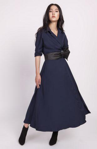 Sukienka midi rozkloszowana granatowa