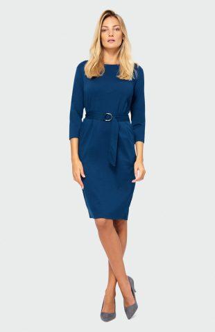Sukienka jesienna do pracy niebieska