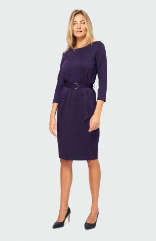 Sukienka jesienna do pracy fioletowa