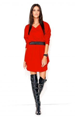 Sukienka dresowa mini czerwona