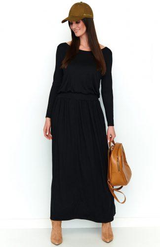 Sukienka maxi z kieszeniami czarna