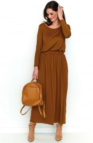 Sukienka maxi z kieszeniami karmelowa