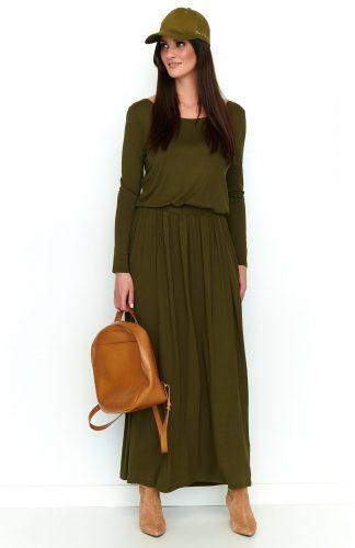 Sukienka maxi z kieszeniami oliwkowa