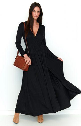 Sukienka maxi z rozcięciem czarna