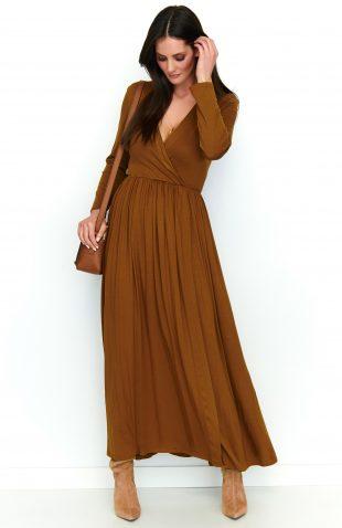 Sukienka maxi z rozcięciem karmelowa