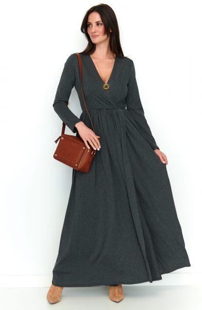 Sukienka maxi z rozcięciem grafit