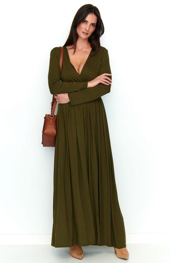 Sukienka maxi z rozcięciem khaki