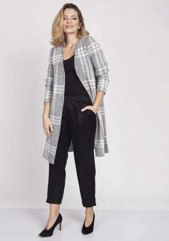 Płaszcz swetrowy długi w kratę