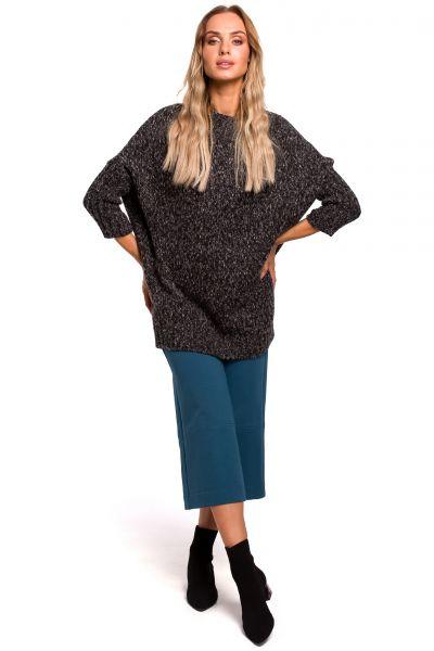 Sweter z półgolfem grafitowy