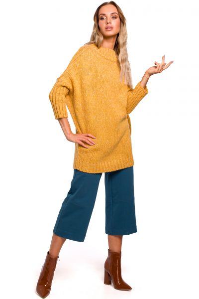 Sweter z półgolfem miodowy