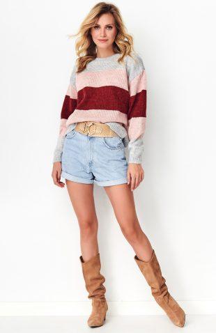 Sweter w paski z kolorowej przędzy