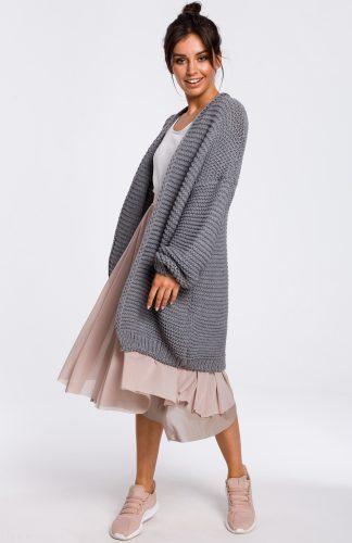 Sweter z szerokimi rękawami szary