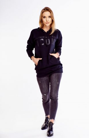 Bluza bawełniana z kapturem czarna