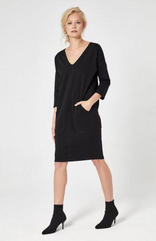 Sukienka dresowa trapezowa czarna