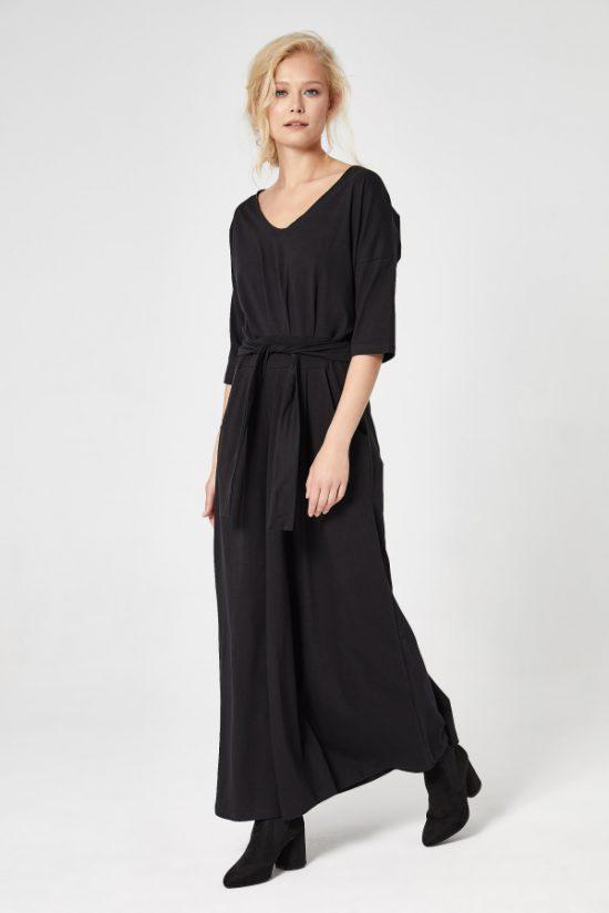 Sukienka do kostek bawełniana czarna