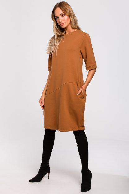 Sukienka bombka dresowa karmelowa